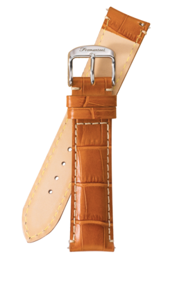 Fromanteel Alligatorgrain Horlogeband Lichtbruin Wit Stiksel