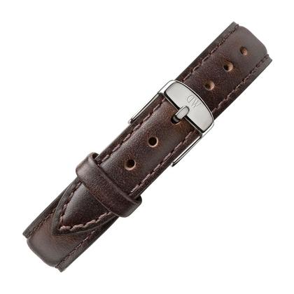 Daniel Wellington 12mm Petite Bristol Donkerbruin Leer Horlogebandje RVS Gesp