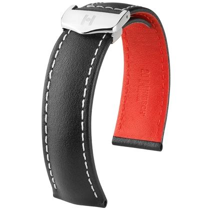 Hirsch Speed Horlogeband voor TAG Heuer Vouwsluiting Zwart Wit Stiksel