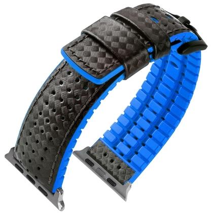 Apple Watch Horlogeband Hirsch Ayrton Zwart Leer Blauw Rubber