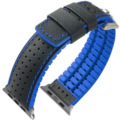 Apple Watch Horlogeband Hirsch Robby Zwart Leer Blauw Rubber