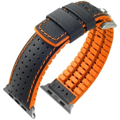 Apple Watch Horlogeband Hirsch Robby Zwart Leer Oranje Rubber