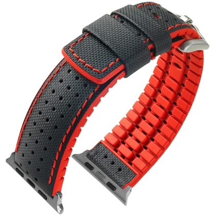 Apple Watch Horlogeband Hirsch Robby Zwart Leer Rood Rubber