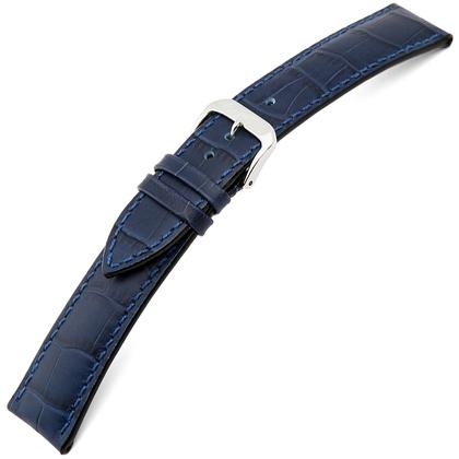Rios Louisiana Alligator Horlogebandje Rundsleer Blauw