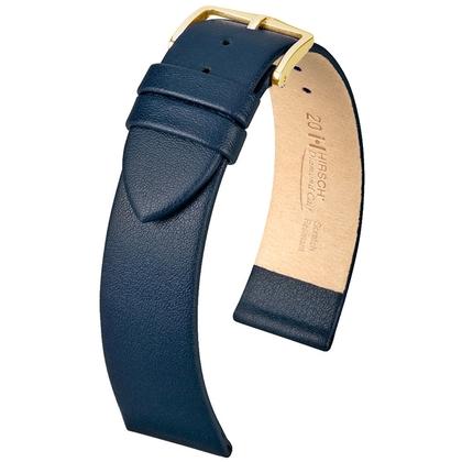 Hirsch Diamond Calf Horlogebandje Krasvast Italiaans Kalfsleer Blauw