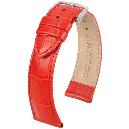 Hirsch Louisianalook Alligatorprint Horlogebandje Rood