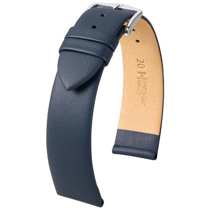 Hirsch Italocalf Nappa Leer Horlogebandje Donkerblauw