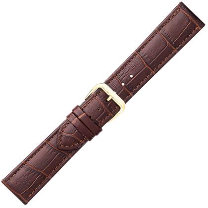 Bruin Horlogebandje Mat Alligator-Kalfsleer