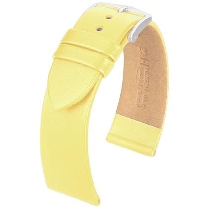 Hirsch Fashion Italiaans Nappa Kalfsleer Horlogebandje Lichtgeel