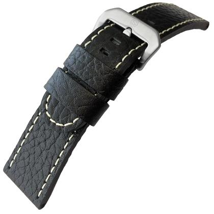 Kalfsleer Horlogebandje Lenzers Zwart