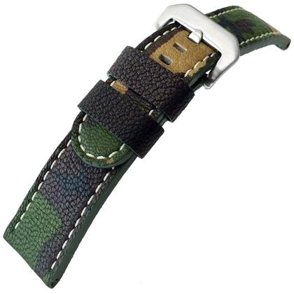 Kalfsleer Horlogebandje Lenzers Camouflage 22mm