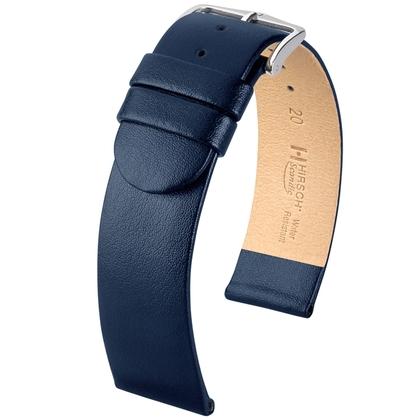 Hirsch Scandic Horlogebandje Blauw Kalfsleer