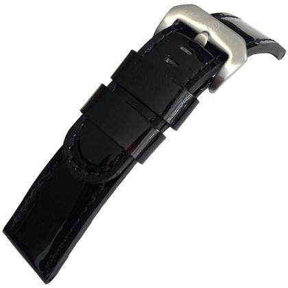 Lakleer Horlogebandje Lenzers Zwart 22mm