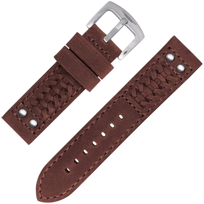 StrapWorks Woven Ranger Horlogebandje Tan Leather