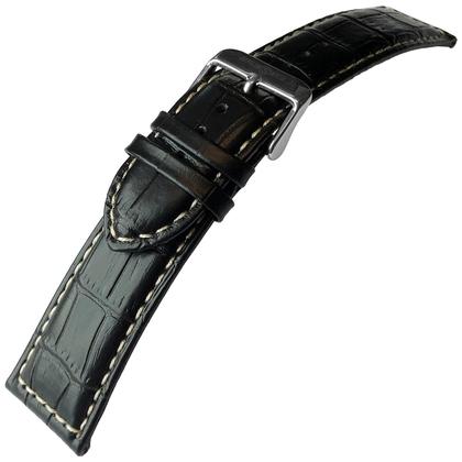 Alligator Kalfsleer Horlogebandje Lenzers Zwart 24mm