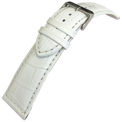 Alligator Kalfsleer Horlogebandje Lenzers Wit 24mm
