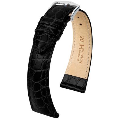 Hirsch Aristocrat Horlogebandje Crocograin Zwart