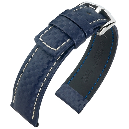 Hirsch Carbon Horlogebandje 100 m Water-Resistant Blauw