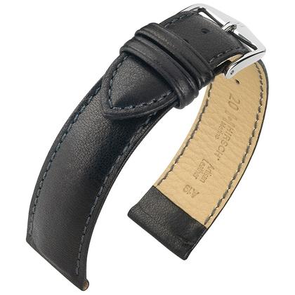 Hirsch Merino Artisan Horlogebandje Nappa Schapenleer Zwart