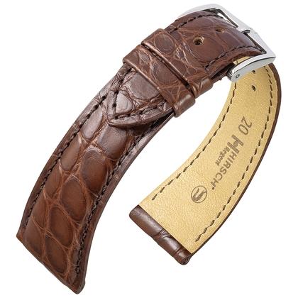 Hirsch Regent Horlogebandje Echt Alligator Flankleer Mat Bruin