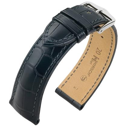 Hirsch Earl Louisiana Alligator Horlogebandje Semi-Mat Zwart