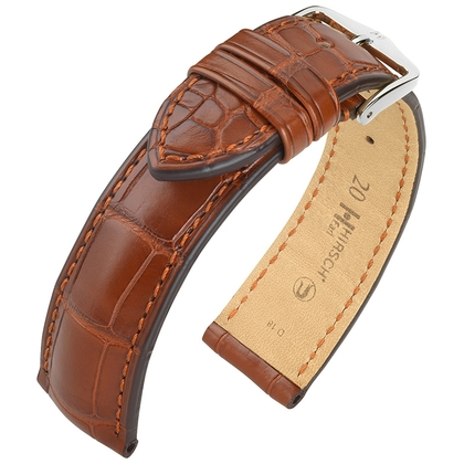 Hirsch Earl Louisiana Alligator Horlogebandje Semi-Mat Goudbruin