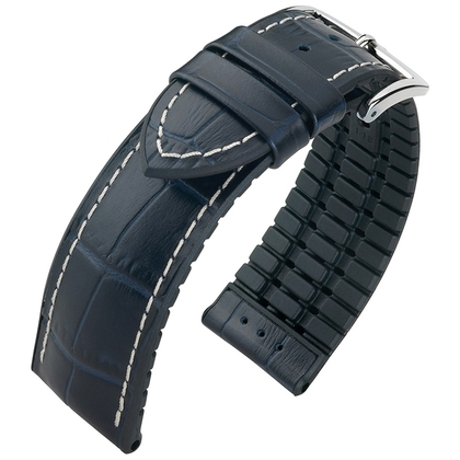 Hirsch George Performance Horlogeband Blauw Leer / Zwart Rubber