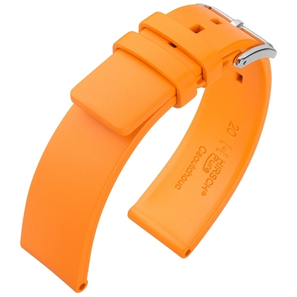 Hirsch Pure Horlogebandje Caoutchouc Natuur Rubber Oranje