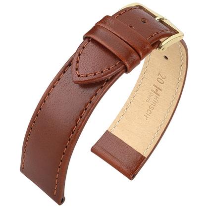 Hirsch Osiris Horlogebandje Rundbox Leer Bruin