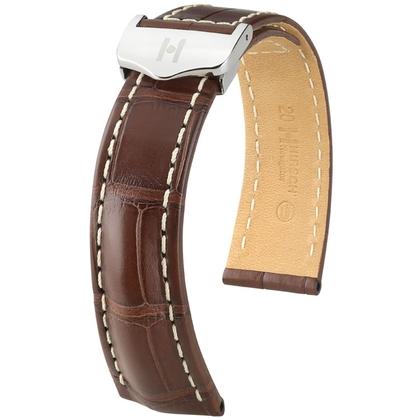 Hirsch Navigator Horlogebandje Voor Breitling Vouwsluiting Louisiana Alligator Mat Bruin