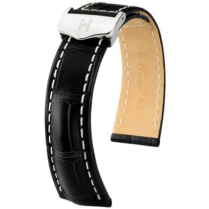 Hirsch Navigator Horlogebandje Voor Breitling Vouwsluiting Louisiana Alligator Mat Zwart