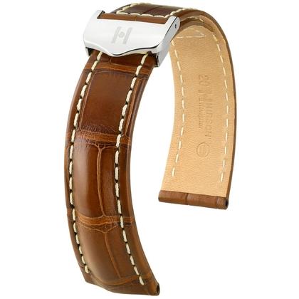 Hirsch Navigator Horlogebandje Voor Breitling Vouwsluiting Louisiana Alligator Mat Goudbruin