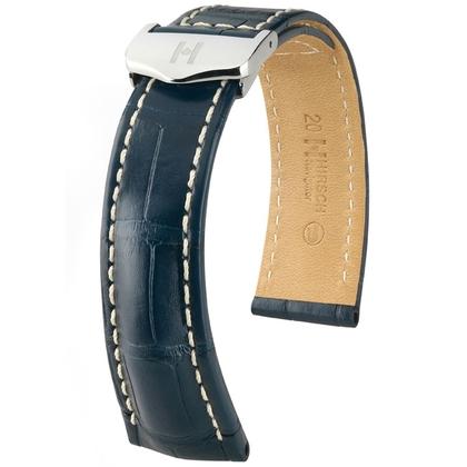 Hirsch Navigator Horlogebandje Voor Breitling Vouwsluiting Louisiana Alligator Mat Blauw