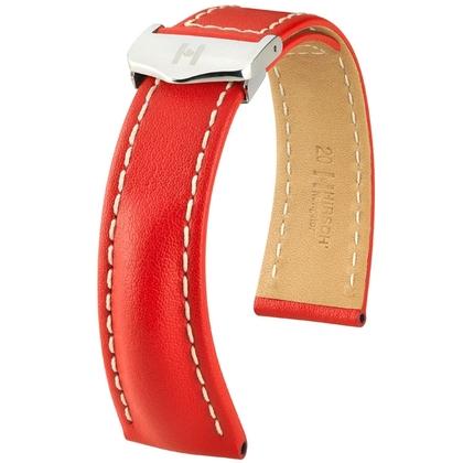 Hirsch Navigator Horlogebandje voor Breitling Vouwsluiting Italiaans Kalfsleer Rood
