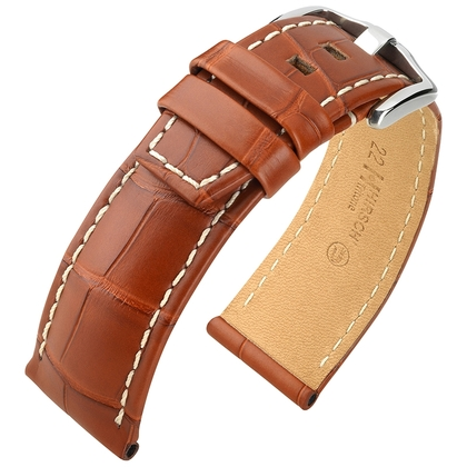 Hirsch Tritone Horlogeband Louisiana Alligator Leer Semi-Mat Goudbruin