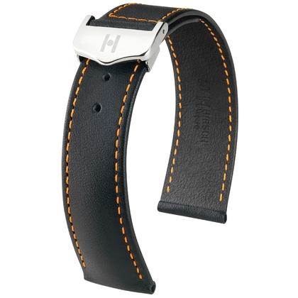 Hirsch Voyager Horlogeband voor Omega Vouwsluiting Italiaans Kalfsleer Zwart Oranje Stiksel