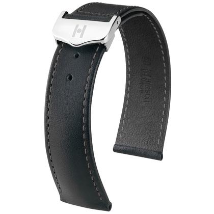 Hirsch Voyager Horlogeband voor Omega Vouwsluiting Italiaans Kalfsleer Zwart