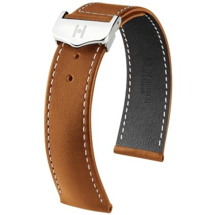 Hirsch Voyager Horlogeband voor Omega Vouwsluiting Italiaans Kalfsleer Goudbruin Wit Stiksel