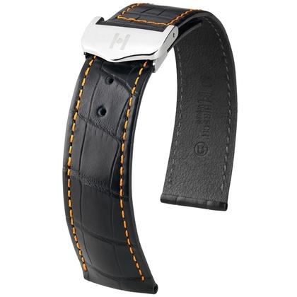 Hirsch Voyager Horlogeband voor Omega Vouwsluiting Louisiana Alligator Zwart Oranje Stiksel