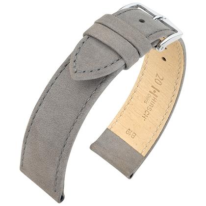 Hirsch Osiris Nubuck Horlogebandje Kalfsleer Grijs