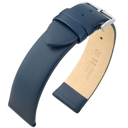 Hirsch Toronto Italiaans Kalfsleer Horlogebandje Blauw