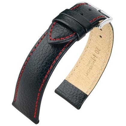 Hirsch Kansas Horlogebandje Buffelgrain Zwart Rood Stiksel