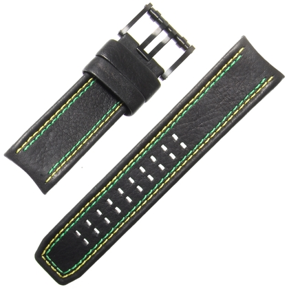 Luminox Tony Kanaan Model 1188 Horlogeband Zwart Leer Geel en Groen Stiksel 26mm - FE.1180.20B
