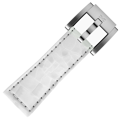 Marc Coblen / TW Steel Horlogeband Wit Leer Alligator 22mm