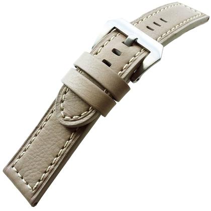 Vintage Horlogebandje Lenzers Leer Grijs