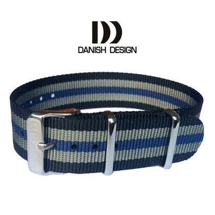 Danish Design Blue Gray Black ZULU NATO Nylon Horlogeband - 20mm