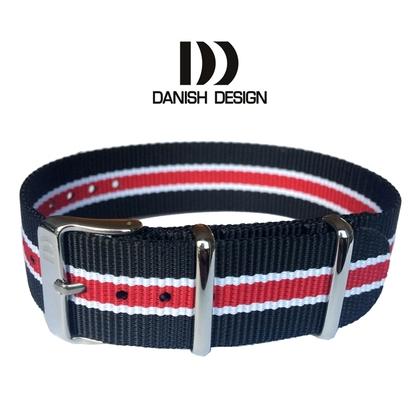Danish Design Black White Red ZULU NATO Nylon Horlogeband - 20mm