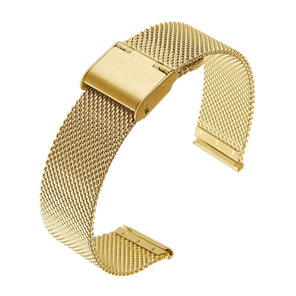 Milanese Horlogebandje Fijn Geweven Mesh Goud Staal