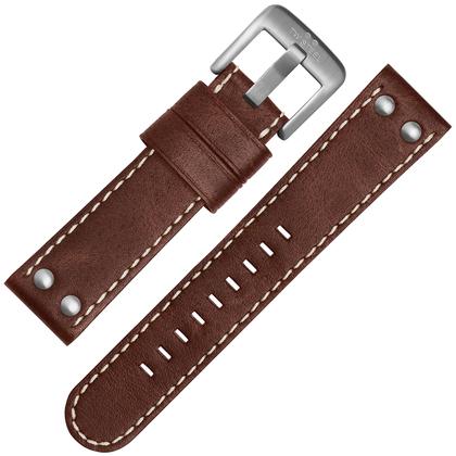 TW Steel Horlogebandje CS22, CS24 - TWS22 Bruin, Wit Stiksel 24mm