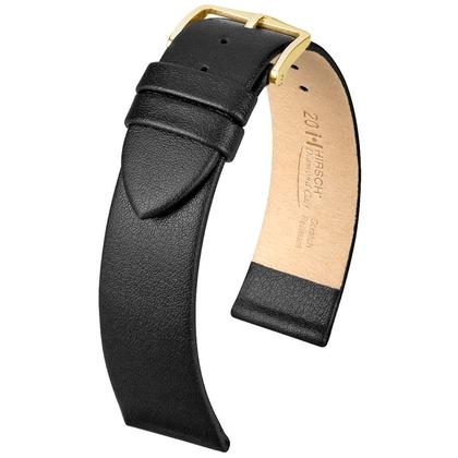 Hirsch Diamond Calf Horlogebandje Krasvast Italiaans Kalfsleer Zwart